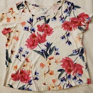 Lands' End Floral Cotton Top Sz 1X
